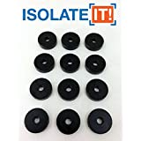 Isolate It: Sorbothane Vibration Isolation Washer 50 Duro (33mm ID - 1.27cm OD - 33mm Thick) - 12 Pack