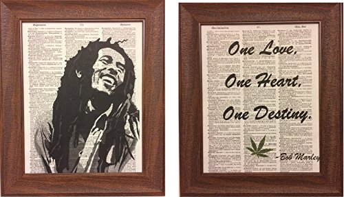Set of 2 Bob Marley Print and Quote Dictionary Book Page Artwork Print Picture Poster Home Office Bedroom Nursery Kitchen Wall Decor - unframed