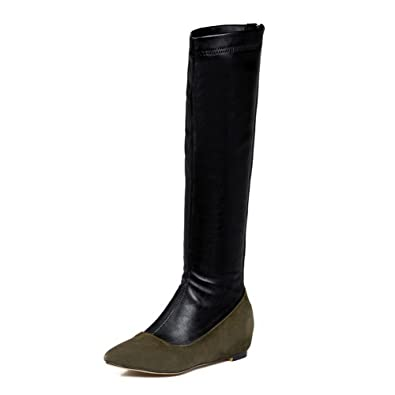 AgooLar Damen Reißverschluss Hoch-Spitze Blend-Materialien Spitz Zehe Mittler Absatz Stiefel, Grün, 39
