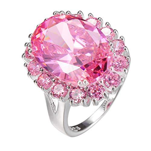 Hermosa Women Pendant Earrings Sterling Silver Pink Topaz Kunzite Ring Size 7 8 9 (Ring 8)