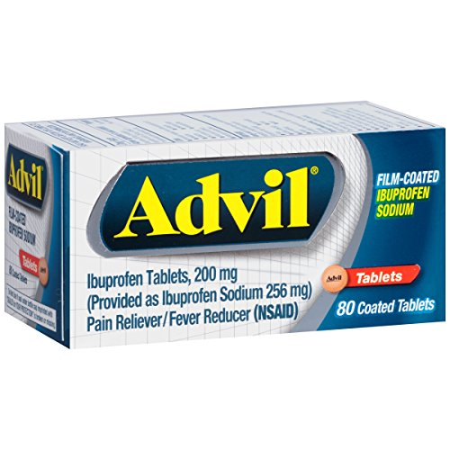 Advil Film-Coated (80 Count) Pain Reliever/Fever Reducer Caplet, 200mg Ibuprofen, Temporary Pain (Advil Coated Tablets)