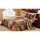 Green Cotton and Antique Chic Deluxe, 5-Piece King Bedspread Set, Patchwork Floral Design and Traditional Style, Includes Cross Scented Candle Tart