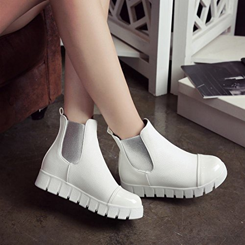 Winter Toe Heel Ankle Boots Boots Shoes with Platform Wedges Fur Womens Agodor Closed White Chelsea qw7t04
