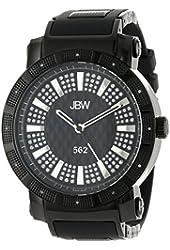 "JBW Men's JB-6225-K ""562"" Pave Dial Diamond Black Rubber Band Watch"