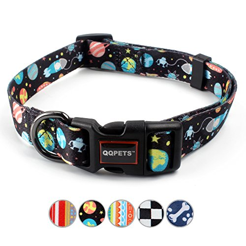 Adjustable Dog Clip Collar - QQPETS Dog Collar Personalized Soft Comfortable Adjustable Basic Collars for Medium Dogs Walking Running Training (M, Space)