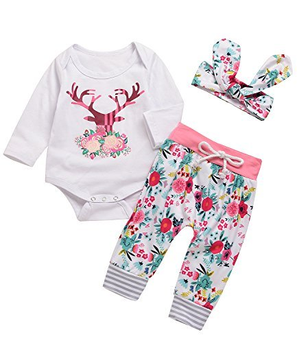 Angekids 3PCs Baby Pink Reindeer Print Long Sleeves Romper Headband Pant Outfit Set (0-3M(Tag70), White&Pink)