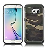 Galaxy S6 Edge Case - Camouflage Heavy Duty Back Cover for Samsung Galaxy S6 Edge, Green