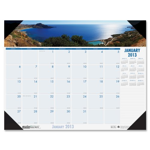 House of Doolittle Coastlines Photographic Monthly Desk Pad Calendar, January-December, 2013, 18-1/2