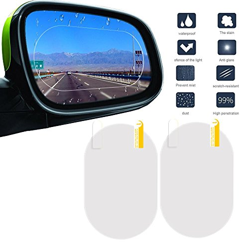 FOONEE 2PCS Car Rearview Mirror Rainproof Film, Waterproof Rainproof Rear View Mirror Window Clear Protective Film, Oval 914cm (Suitable for All Cars)