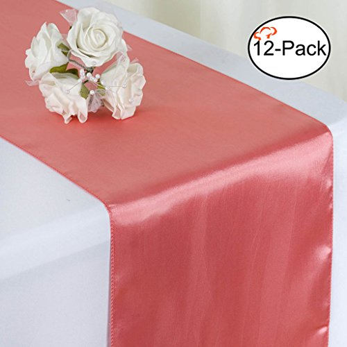Tiger Chef 12-Pack Rose Quartz 12 x 108 inches Long Satin Table Runner for Wedding, Table Runners fit Rectange and Round Table Decorations for Birthday Parties, Banquets, Graduations, Engagements