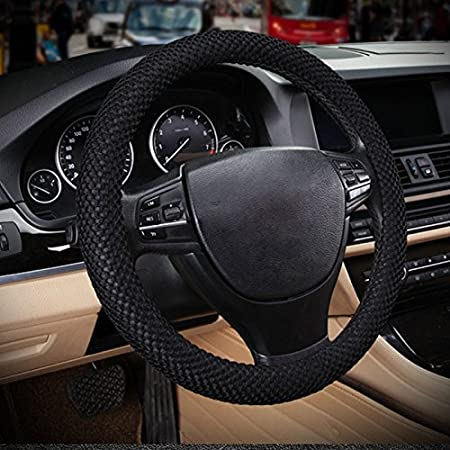 No More Sweat Hands 38cm 15-red Raysell Odorless Standard Size Breathable Car Steering Wheel Cover
