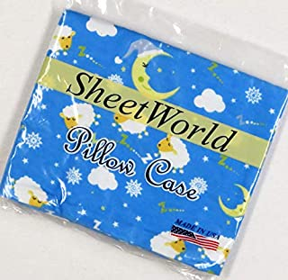 product image for SHEETWORLD.COM Sleepy Sheep Blue Cotton Flannel Baby Pillow Case