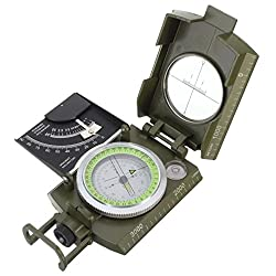 1 Pack Military Army Metal Sighting Clinometer Compass Keychain Survival Emergency Life Tactical Mighty Popular Outdoor Hiking Waterproof Protractor Whistle Backpack Geometry Map Guide Tools Kits