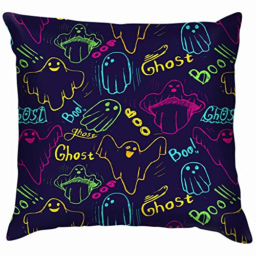 Whisper Ghost Hand Draw Baby Holidays Soft Cotton Linen Cushion Cover Pillowcases Throw Pillow Decor Pillow Case Home Decor 24X24 Inch ()