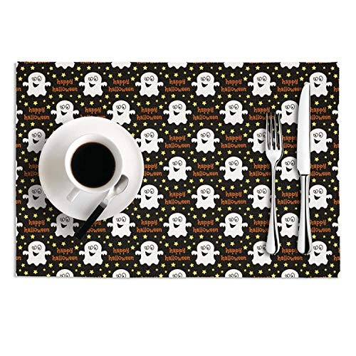 Hymanw Placemats Halloween fantasmas Decor Heat-Resistant Stain Resistant PVC Thick Green Table Mats Set of 2