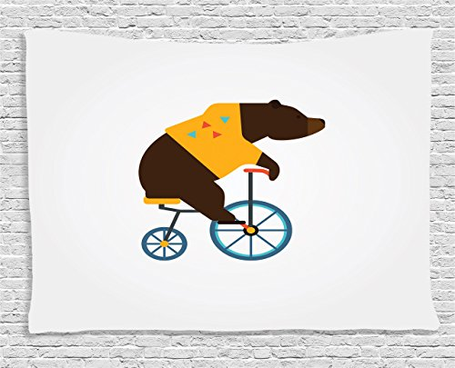 [Ambesonne Bicycle Decor Collection, Big Teddy Bear Icon of Circus Riding Bicycle with Trendy Hipster Costume Animal Image, Bedroom Living Room Dorm Wall Hanging Tapestry, 80 X 60 Inches, Brown Yellow] (Female 80's Icons Costume Ideas)
