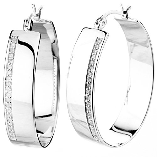 Vir Jewels 1/4 cttw Diamond Hoop Earrings .925 Sterling Silver 1.50 Inch