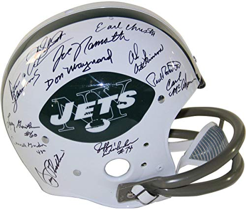 - 1969 New York Jets Team Signed Replica TK Style 65-77 Throwback Helmet (2-Bar Facemask) (24 Signatures) - Steiner Sports Certified
