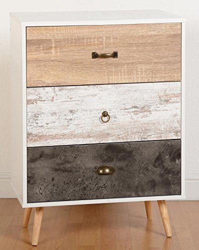 Nordica 3 Drawer Wide Chest in White & Distressed Effect from Modern Living