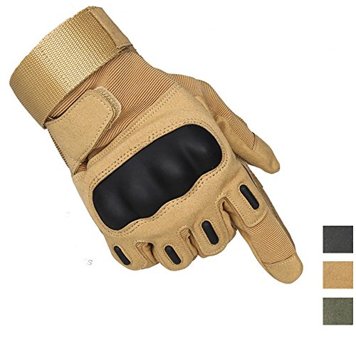 K-mover Full Finger Military Tactical Gloves Airsoft Hunting Riding Cycling Anti-Vibration Mountain Bike Slip-Proof Motorcycle Road Racing Bicycle Gloves (Black, XX-Large)