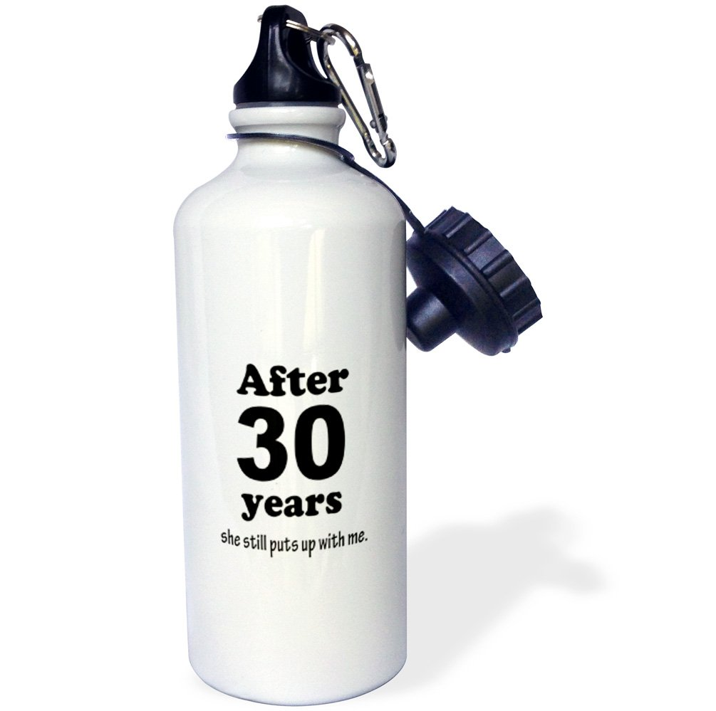 21 oz 3dRose wb/_113694/_1After 30 years she still puts up with me Sports Water Bottle White