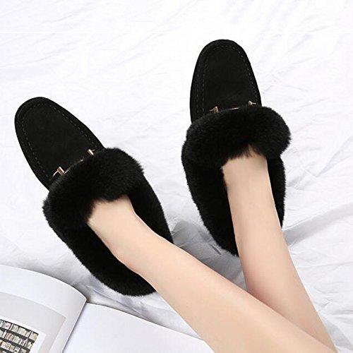 FUFU Halbschuhe mit Quasten Frauen Schuhe  Flache Ferse Für Casual 3 Farben Schwarz