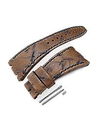 Heavy Scratch Leather of Art Watch Strap for Audemars Piguet Royal Oak Offshore, Navy St