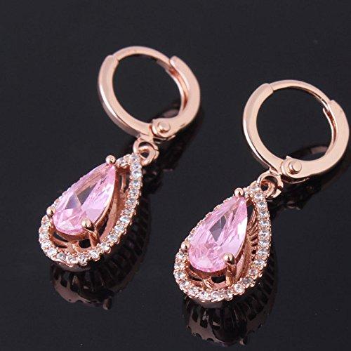 Women 18K Gold Plating Zircon Stud earrings(Rose Gold) - 7