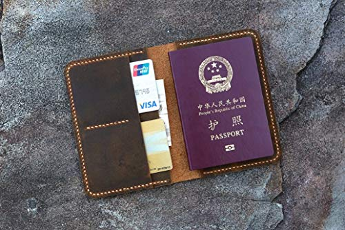 Hand Stitched Personalized leather passport card case/passport wallet/vintage retro distressed leather passport holder cover -PP005S