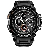 Heligen Comfortable Rubber Band Sport Watch with Dual Dial Case Digital Electronic Watches Casual Stylish Watches Simple Business Watches Analog Quartz Wrist Watches for Men Women Unisex (Black)