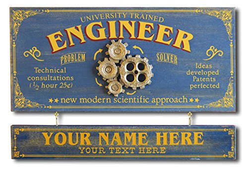 THOUSAND OAKS BARREL Engineer Wood Plank Occupational Sign with Personalized Name Board