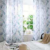 iSkylie Sheer Curtains Leaves Window Curtain Voile Panels Tulle Window Sheer Scarf Valance Topper Voile Panel for Bedroom (E)