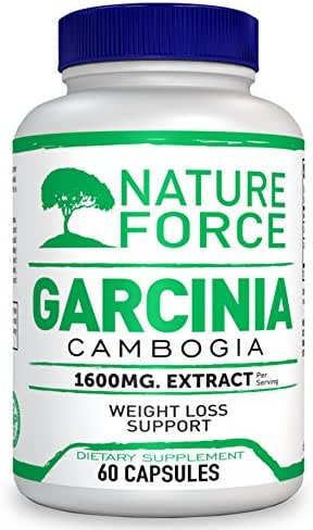 Nature Force Garcinia Cambogia 1600 mg Pure Extract with HCA | All Natural Appetite Suppressant | Weight Loss Supplement & Fat Burner for Women and Men | Extreme Сarb Blocker | 60 Caps