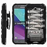 Samsung Galaxy J3 Emerge [2017] Phone Cover [Case86] [Black/Black] Dual Hybrid Armor Phone Case [Screen Protector Included] - [Mustang Motor]