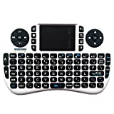 WONDAY Mini Wireless Keyboard 2.4G XBMC Keyboard Touchpad Mouse Combo- Multi-media Portable Handheld Android Keyboard- for Google Android Smart TV Box Media Mini TV PC Stick HTPC IPTV Raspberry PI3 PS3 (White)