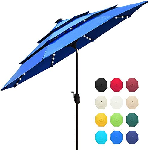 EliteShade Sunbrella Solar 9ft 3 Tiers Market Umbrella with 80 LED Lights Patio Umbrellas Outdoor Table with Ventilation and 5 Years Non-Fading Top,Royal Blue
