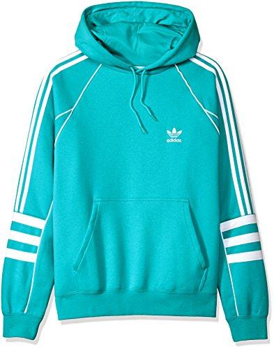 adidas Originals Men's Striped Sleeve Hoodie, hi/res Aqua, S