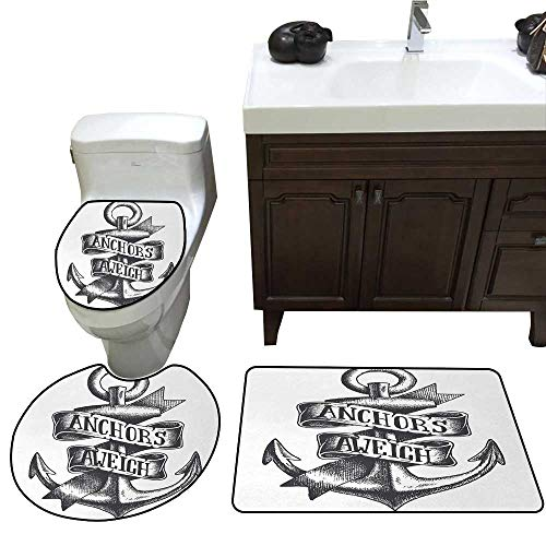 John Taylor Anchor 3 Pc Bath Rug Set Tattoo Style Navy Symbol Sketch with Ribbon and Vintage Lettering Insignia Rug Contour, Mat and Toilet Lid Cover Charcoal Grey White -