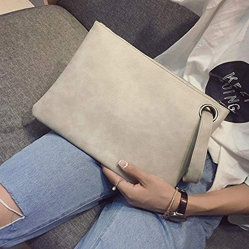 Moonnight Store Fashion solid women's clutch bag leather women envelope bag clutch evening bag female Clutches Handbag Immediately shipping (beige - (30cm<Max - Oversized Quilted Clutch