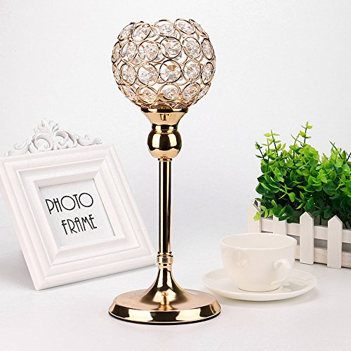 Basde Crystal Candlestick Holders Elegant Luxurious Crystal Candlesticks and Lamps Set,Coffee Table Decorative Centerpieces Candle Lantern Bowl Crystal Candlestick (Golden, S) by Basde