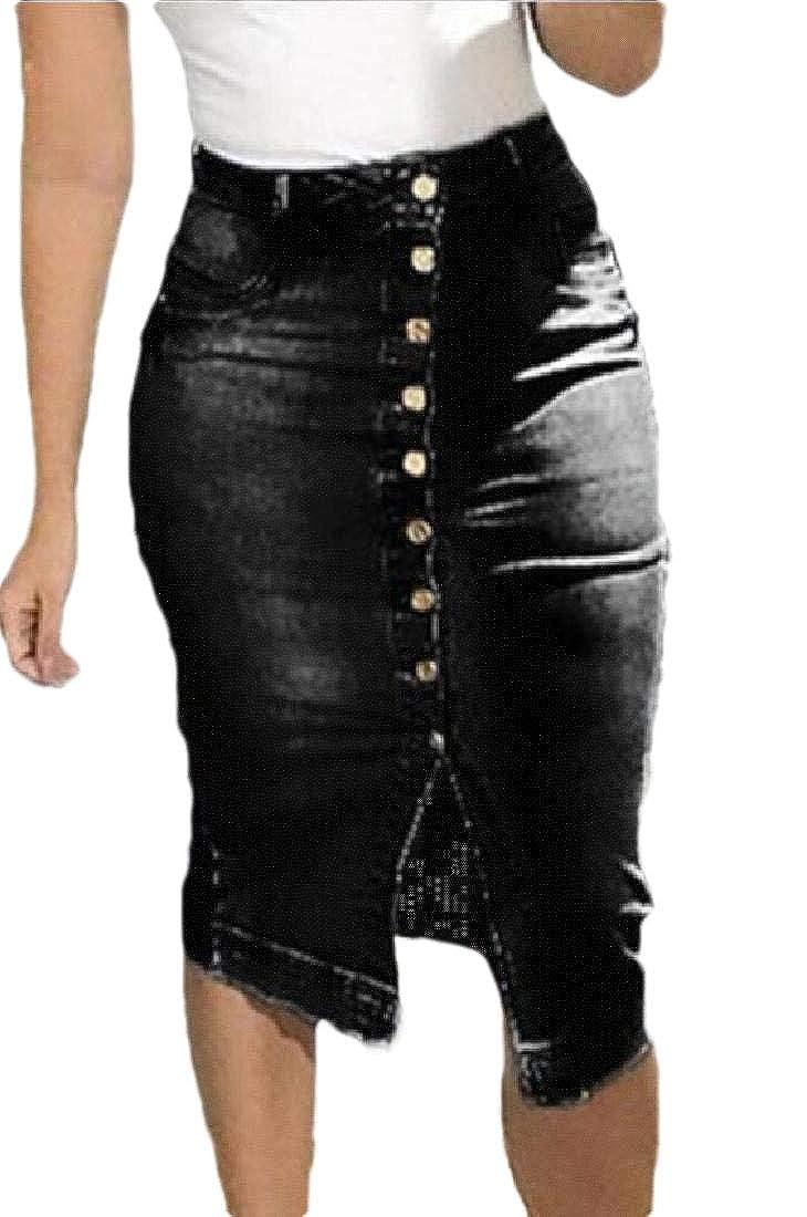security Falda de Jean para Mujer con Botones en la Parte ...
