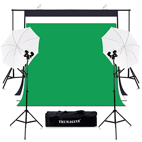 TRUMAGINE Photography 6.5x10FT Chromakey Green Screen Backdrops Stand Umbrella Lighting Kit with 135Wx4 Lights Background Support System by TRUMAGINE