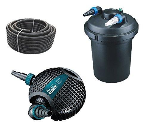 Bio Druckteichfilter Set 12.000l CPF 380 +Eco Teichpumpe O-Serie 6500 +UVC Klärer +10 Meter Teichschlauch