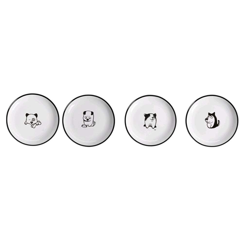 Black-sided Cartoon Dog Western Dish Ceramic Tableware Fruit Plate Cake Snack Dish Small Dish Plate Set 4 Pack (Size : 7 inches)