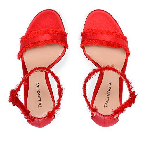 Sandalias Las Bombas De eu34 Hebilla Zapatos Punta Clover Talón 46 Mujeres Los Eu34 Novia Lucky Señoras Sexy Tacón Aguja a Alto Satén 1UwE6qx