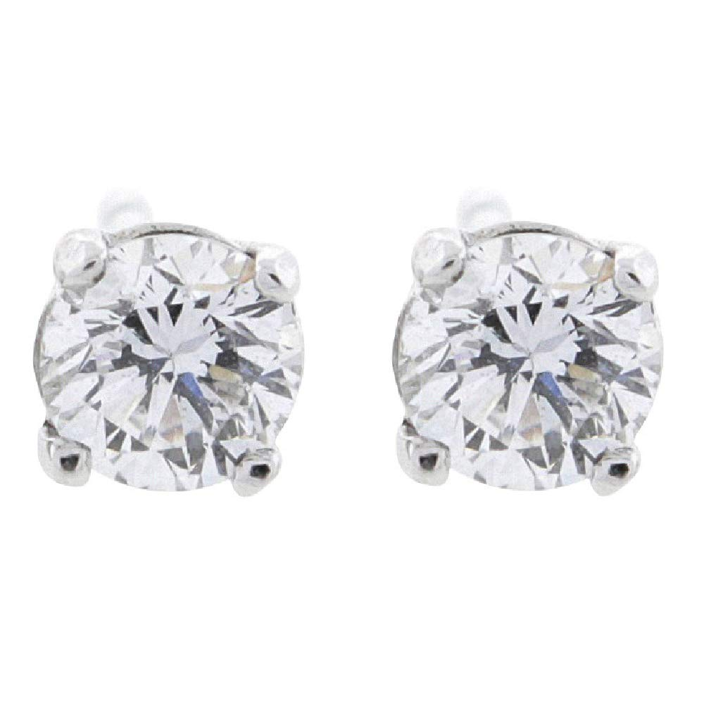 1/2 ct tw G VS1 Natural Round Diamond Studs 14K Gold Screw Back