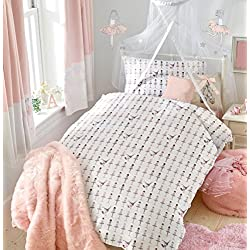 "Twin Ballerina Dancers Duvet Cover Bedding Set for Girls Bedding - Double Brushed Microfiber by Where The Polka Dots Roam (68"" L X 86"" W), White and Pink"
