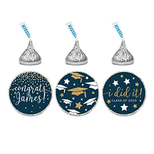 Andaz Press Navy Blue and Gold Glittering Graduation Party Collection, Personalized Chocolate Drop Label Stickers Trio, 216-Pack, Custom Name, Fits Hershey's Kisses Party Favors]()