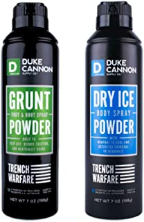 product image for Duke Cannon Supply Co. - Trench Warfare Body Powder Spray Set (2 Piece Set) This Bundle Includes the Dry Ice Body Powder Spray (7 oz) and the Grunt Foot & Boot Spray (7 oz)