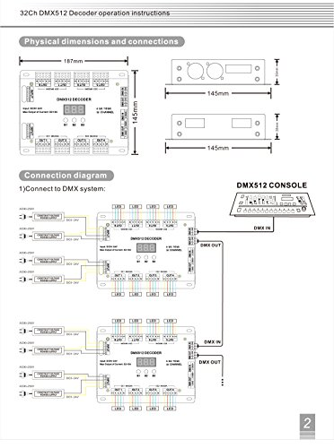 amazon com 32 channel 96a rgbw dmx 512 led decoder controller dmx rh amazon com dmx controller circuit diagram 3-Pin DMX Pinout